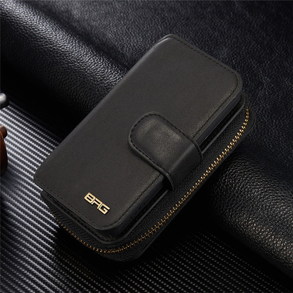 Ladies Multi-function Leather Zipper Wallet Case For iPhone