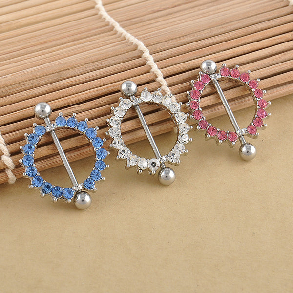Rhinestone Nipple Ring Piercing