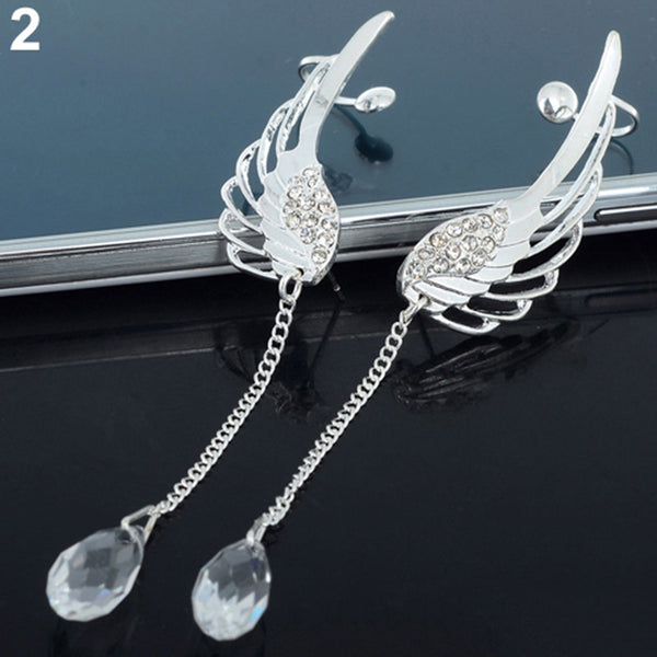 Top Quality Classic Perfect Silver Earring Angel Wing Stylist Crystal Earrings Drop Dangle Ear Stud Cuff Clip