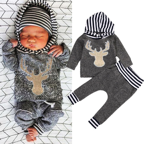 Baby Deer Long Sleeve Top Hoodie and Stripe Pants Leggings