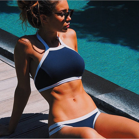 Triangle Halter Crop Top High Neck Bikini Set