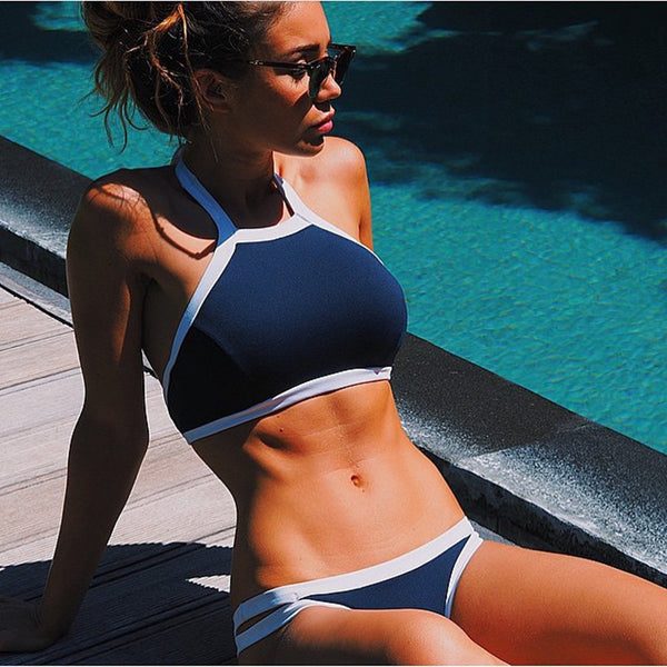 Triangle Halter High Neck Crop Top Bikini Set