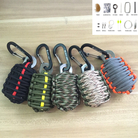 U.S. Outdoor Carabiner Grenade 550 Paracord Survival Kit Keychain Fishing Tools Kit with Fire Starter and Sharp Eye Knife