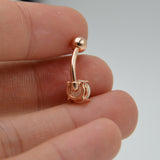 Opal Stone Belly Button Ring Gold or Silver Prong