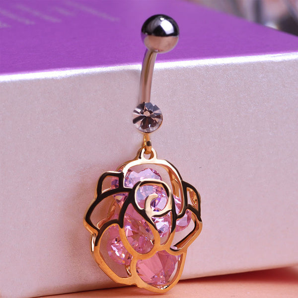 Luxurious Rose Flowers Belly Button Rings