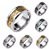 Titanium Steel Silver Gold Plated Jesus Letter Ring