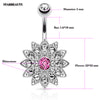Elegant Opal Crystal Flower Belly Button Rings