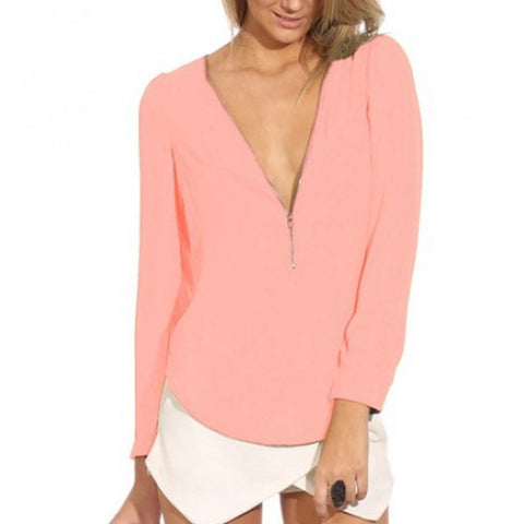 Autumn V Neck Long Sleeve Zipper Chiffon Blouses Tops 6 Color