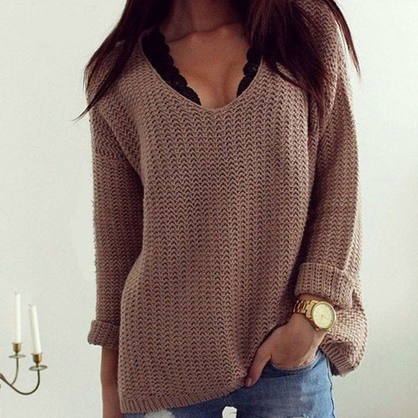 Autumn Winter Women Sweaters pullovers long sleeve casual Sweater solid knitted