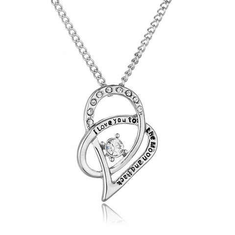 Heart Necklace for Women I Love You To The Moon Back Lovers Pendant