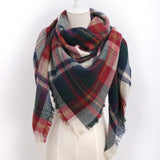 Acrylic Woven Triangle Plaid Scarf Multiply Colors