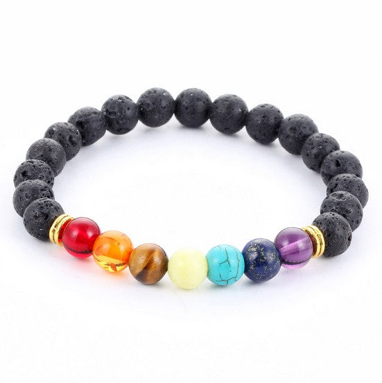 Volcanic Lava Stone Bracelet with Colorful Energy Beads
