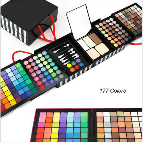 Professional Eye Shadow Powder Blush Palette 177 Color Cosmetics Makeup Eyeshadow With make up Gift Set Sponge & Mirror