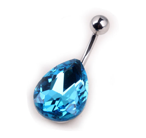 Blue Drop Gems Belly Button Rings
