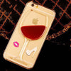 Red Wine Glass Transparent Liquid Quicksand iPhone Hard Back Case (All Models)