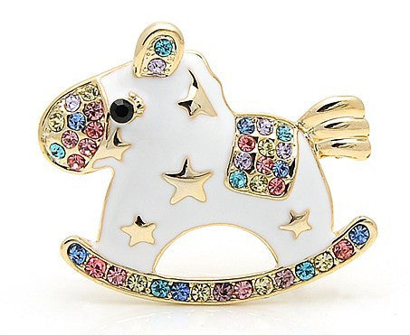 Decoration Garment Accessories Wedding Bridal Crystal  Animal Toy Hobbyhorse Enamel Cockhorse Brooch Pin