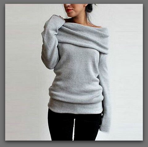 "Solid Color Long Sleeve Pullover Knitwear Sexy Off Shoulder Loose Sweater ""FREE SHIPPING"" - More Stuff I Like"