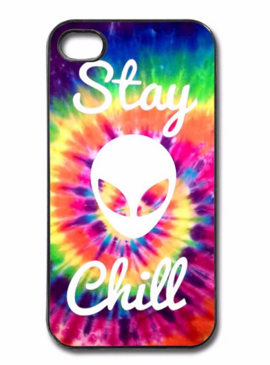 "Stay Chill Alien Plastic Case Cover for Apple iPhone 4 4s 5 5s 5c 6 / 6s 6Plus Tie Dye Alien "" FREE SHIPPING "" - More Stuff I Like"