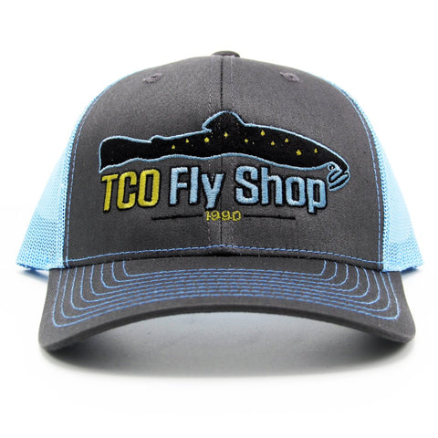 8bf83893505be TCO Fly Shop Logo Hat Trucker - Charcoal Columbia Blue