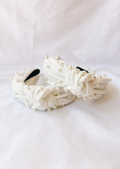Knotted Pearl Headband - White