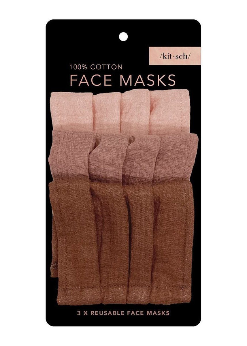 Cotton Mask Set of Three - Dusty Rose
