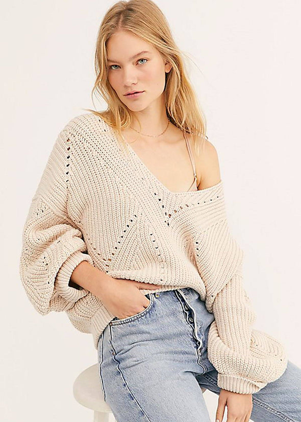 All Day Long V Sweater - Pearl