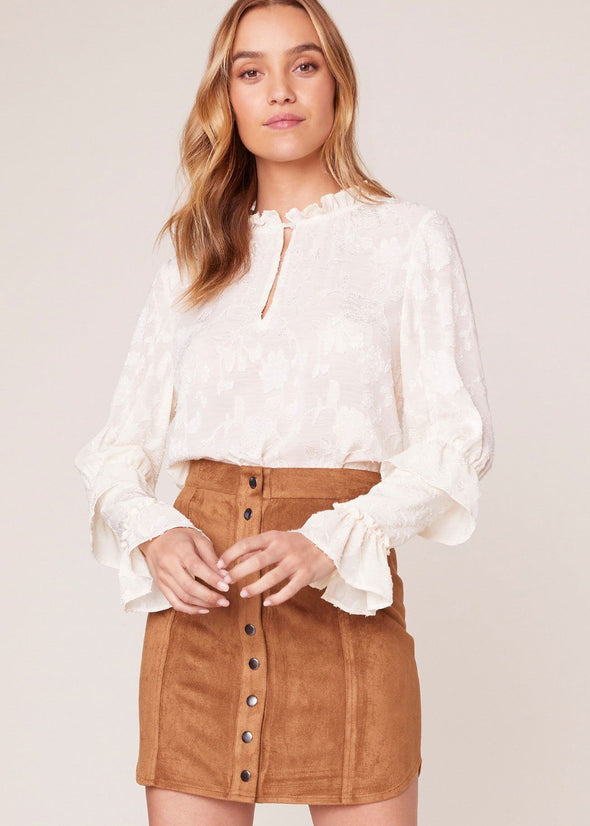 Alright Alright Faux Suede Skirt - Whiskey