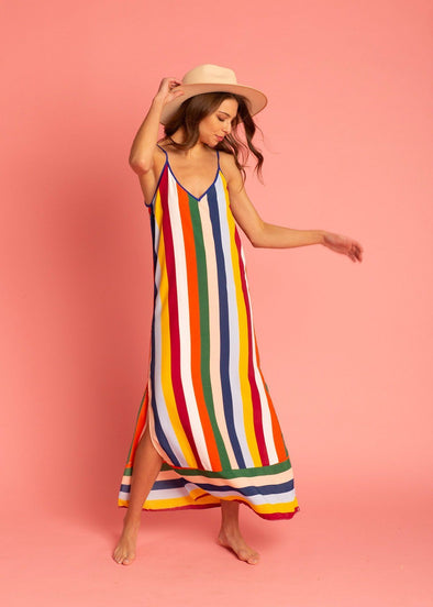 Amelia Multi-Striped Slip Dress