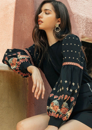 Ana Embroidered Balloon Sleeve Top