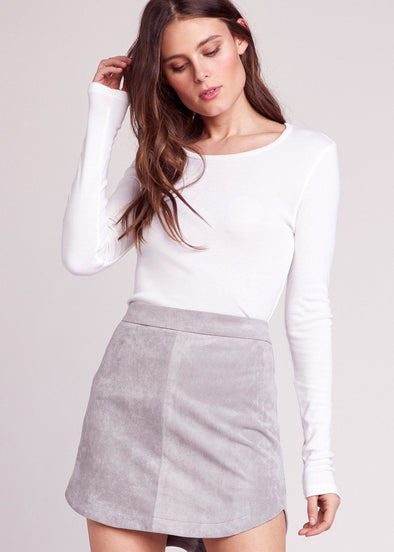 Annette Suede Mini Skirt - Stone Grey
