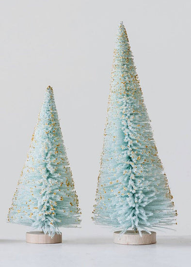 "Bottle Brush Tree 9"" H - Aqua with Gold Glitter"