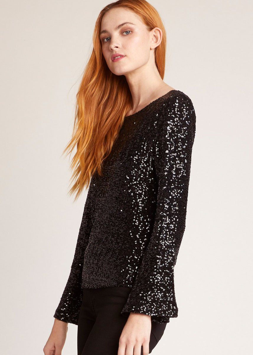Kira Kira Sequin Bell Sleeve Top
