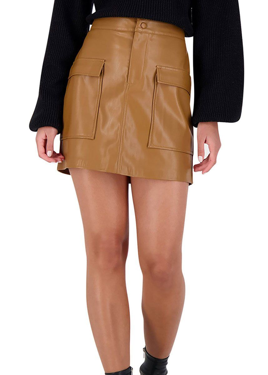 Leather Too Late Skirt - Caramel