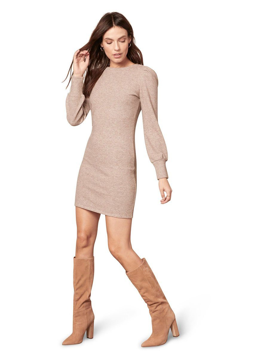 Knit The Scene Dress - Heather Beige