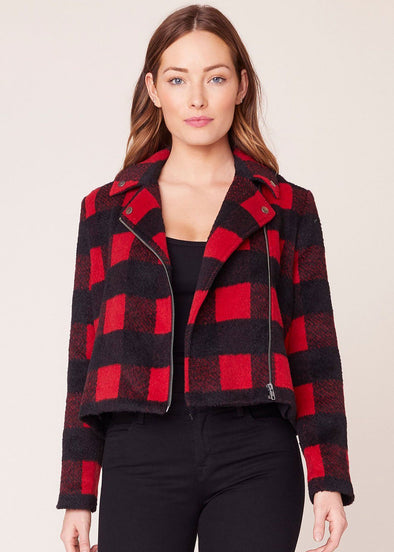Bell Behaved Plaid Moto Jacket