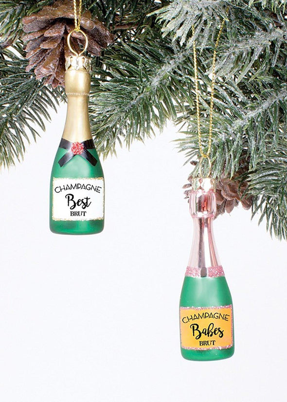 Champagne Besties Ornies - Set of Two