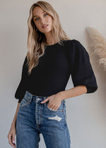 Birdie Ballon Sleeve Ribbed Sweater - Black