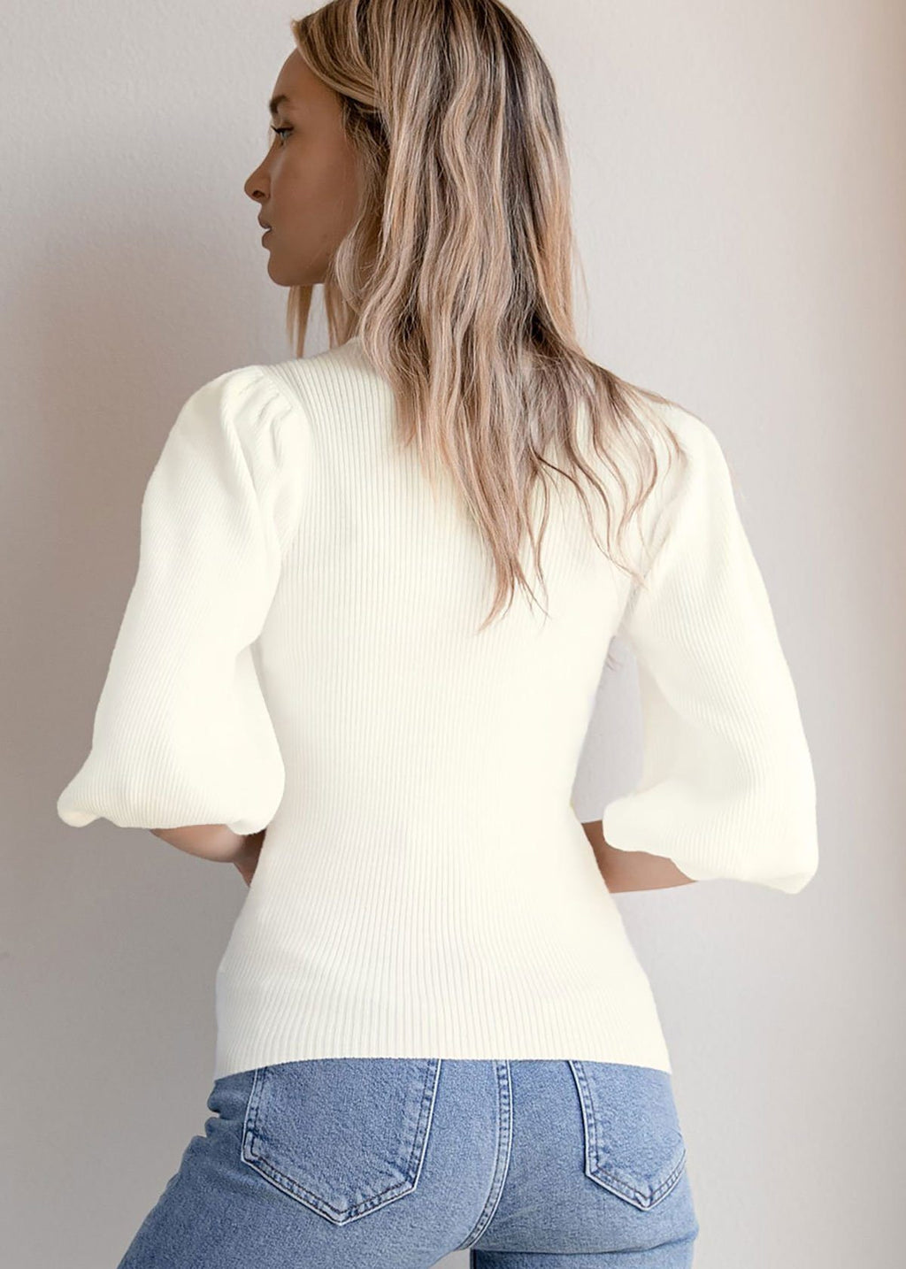 Birdie Ballon Sleeve Ribbed Sweater - White