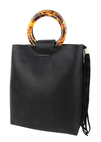 Black Mini Tote with Tortoise Handle
