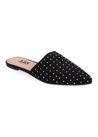 Studded Black Suede Mule