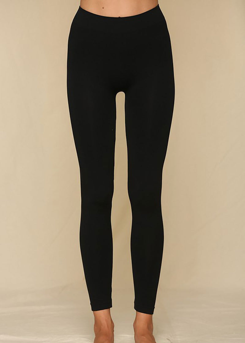 Seemless Rib Waist Leggings - Black