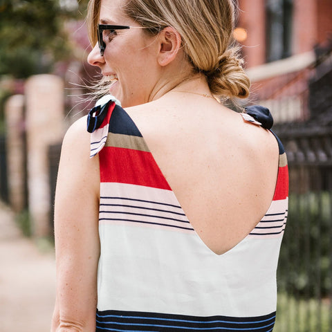 Brett Stripe Bow Tie Top