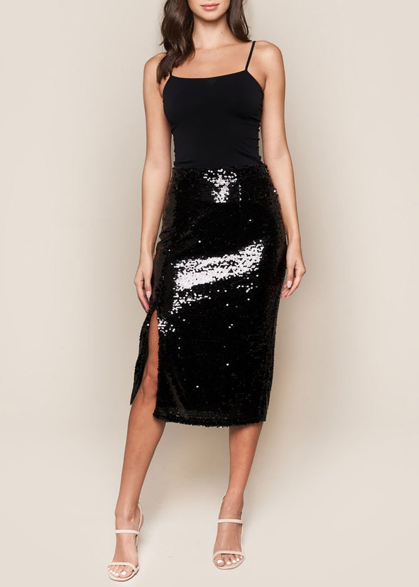 Bright Night Sequin Midi Skirt