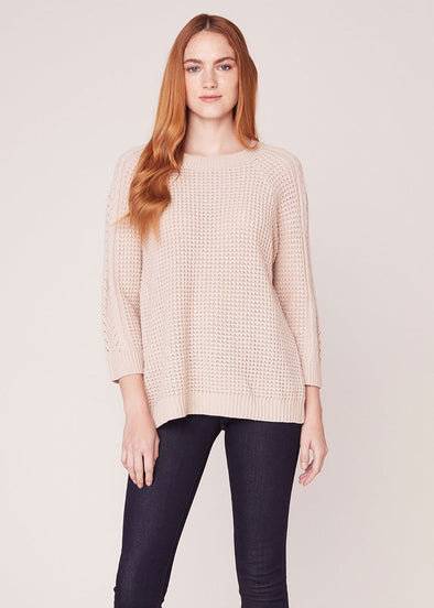Cable Girl Split Back Sweater - Oatmeal