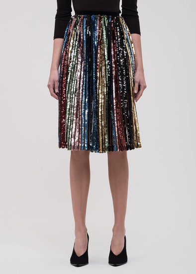 Camden Multi-Stripe Sequin Midi Skirt