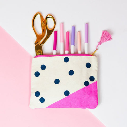 Navy Dots Canvas Pouch
