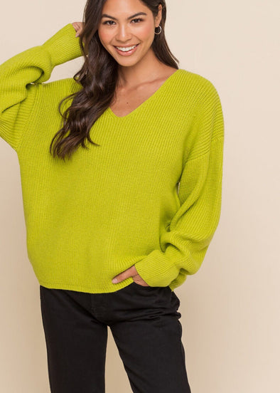 Carter V-Neck Sweater - Lime