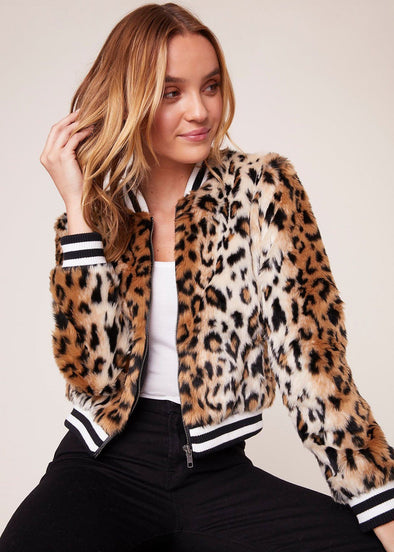 Cat Power Leopard Faux Fur Bomber