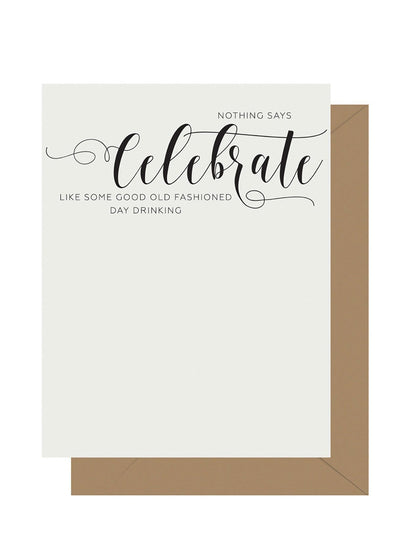 Celebrate Calligraphy Letterpress Greeting Card