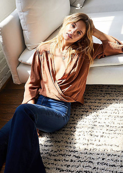Check On It Wrap Top - Bronze